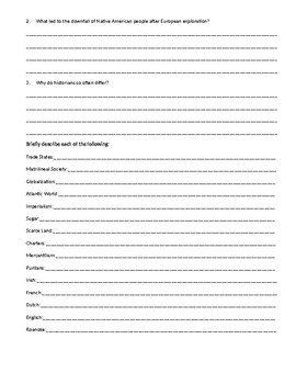 Unfinished Nation Chapter 1: Collision of Cultures Homework  McGraw Hill