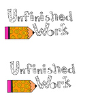 Unfinished Work Folder Label