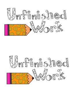 Unfinished Work Folder Label