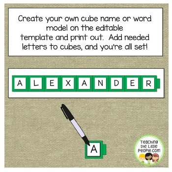 Unfix Cubes Name/Word Models for Puzzles (Editable)
