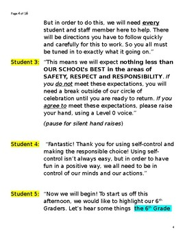 Unforgettable Student Led All School Meeting Script-PBIS or Community Building