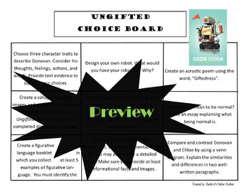 Ungifted Choice Board Novel Study Activities Menu Book Project Rubric