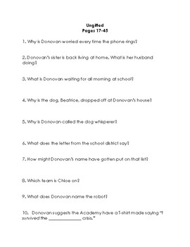 Ungifted by Gordon Korman Quiz/Discussion Set