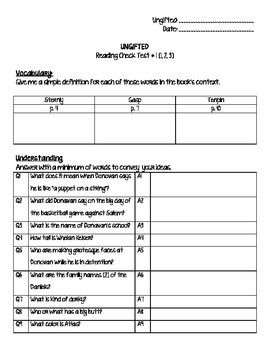 Ungifted by Korman - Reading check test 1