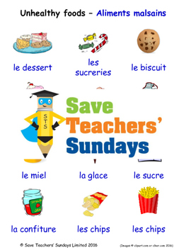 Unhealthy Foods in French Worksheets, Games, Activities and Flash Cards