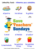 Unhealthy Foods in Spanish Worksheets, Games, Activities and Flash Cards