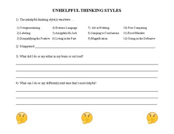 Cognitive Distortions Worksheets & Teaching Resources | TpT