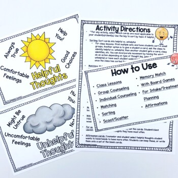 CBT Thought Cards for Helpful and Unhelpful Thought Activities