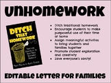 Unhomework - Letter to families (EDITABLE)