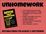 Unhomework menu for August and September (EDITABLE)