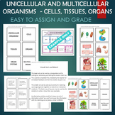 Unicellular and Multicellular (Cells, Tissues, Organs) Sort and Match Activity