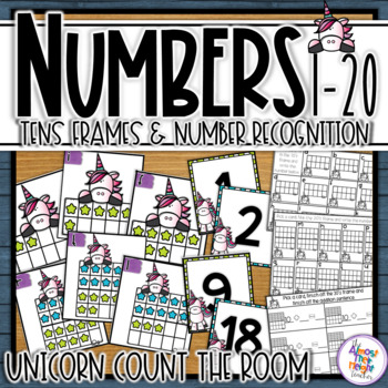 Unicorn 0-20 Tens Frame Number Sense Activity for math center or scoot game