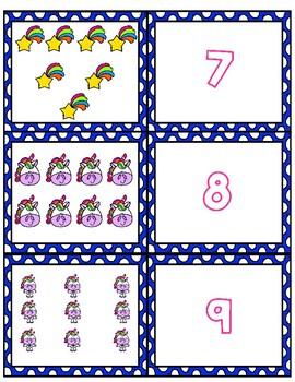Unicorn 1-10 Cards ~ 1:1 Correspondence, Subitize, Numeral Recognition