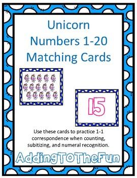 Unicorn 1-20 Matching Cards