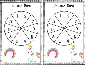 Unicorn Addition Bump Game Bundle for  Building Fact Fluency