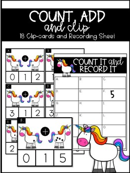 Unicorn Addition Clipcard Center