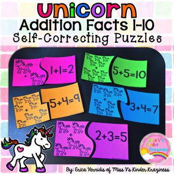 Unicorn Addition Facts 1-10 Self-Correcting Puzzles