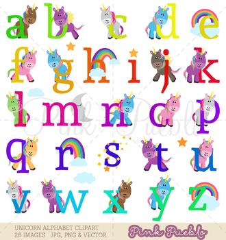 Unicorn Alphabet Clipart, Unicorn Alphabet Clip Art, Unicorn Clipart