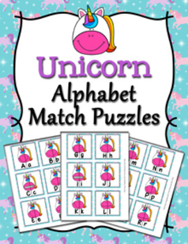 Unicorn Alphabet Letter Match Puzzles