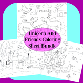 Unicorn And Friends Coloring Sheet Bundle