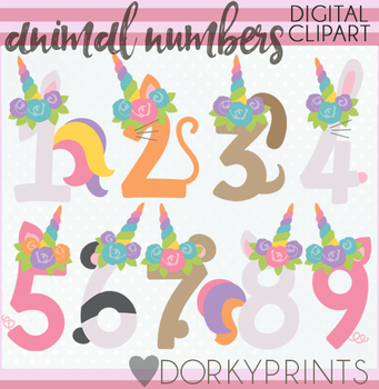 Unicorn Animal Numbers Clipart by Dorky Doodles | TpT