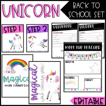 Unicorn Back To School/ Meet The Teacher Set - EDITABLE