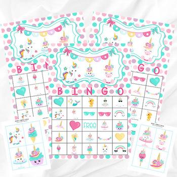 Unicorn Bingo Printable Party Game - Printable PDF - Instant Download - 30 Bingo