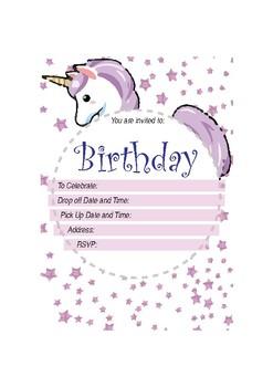 Unicorn - Birthday Invitation