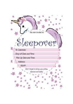 Unicorn - Sleepover Invitation