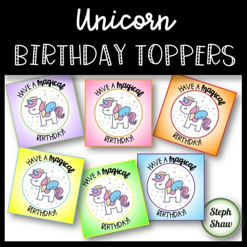 Unicorn Birthday Toppers - for pencils, straws, or Pixy Stix!