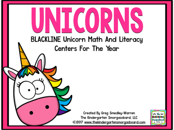 Unicorn Blackline Math & Literacy Centers for the Whole Year