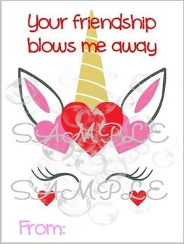 Unicorn Blowing Bubbles Friendship Valentine Card