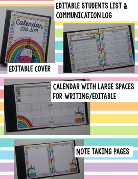 Unicorn Calendar/Planner 2018-2019 Editable Pages