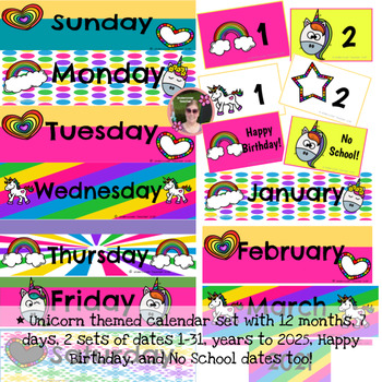 Unicorn Calendar Set Colorful (Months, Days, Dates, Years)