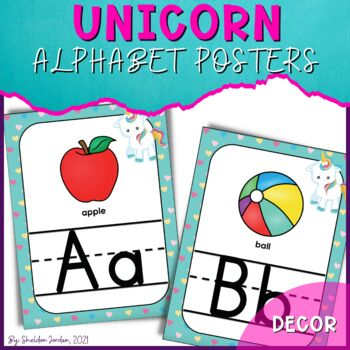Unicorn Classroom Decor - Alphabet Posters