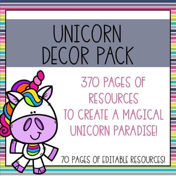Unicorn Classroom Decor Bundle (Editable!)
