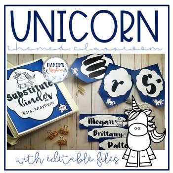 Unicorn theme Classroom Decor with Editable files