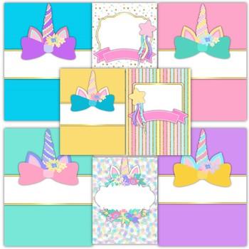 Unicorn Classroom Theme Decor - Binder Covers