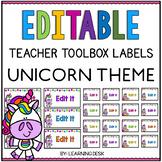 Unicorn Classroom Theme - Teacher Toolbox Labels Editable