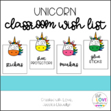 Unicorn Classroom Wish List