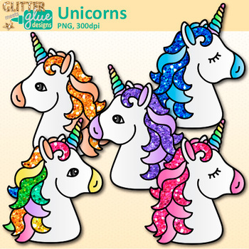 Unicorn Clip Art {Rainbow Mythical Animals for Birthday Charts & Crowns}