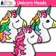 Unicorn Clip Art | Rainbow Mythical Animals for Birthday Charts & Crowns