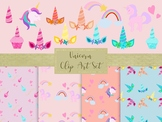 Unicorn Clip Art & Seamless Paper Set, Separate PNG and Jpeg Files.