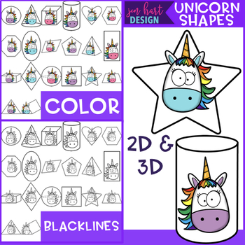Unicorn Clip Art - Unicorn 2D & 3D Shapes {jen hart Clip Art}