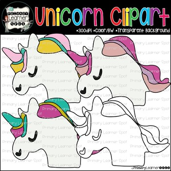 Unicorn Clip art Target Erasers for Primary Grade Centers and Digital Creations