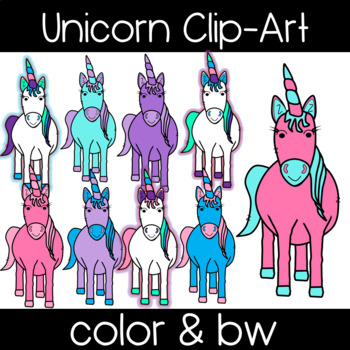 Unicorn Clipart: Front view