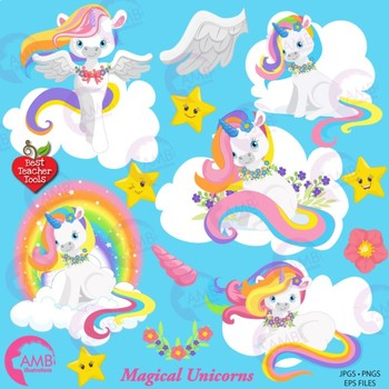 Unicorn Clipart, Magical Unicorn Clipart, {Best Teacher Tools} AMB-1382