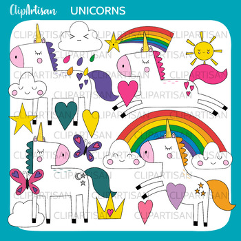 Unicorn Clipart, Mythical Animal Clipart, Unicorn Black and White Outlines