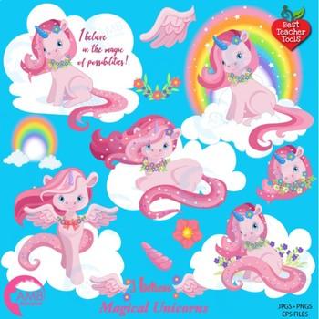 Unicorn Clipart, Rainbow Pony Clipart {Best Teacher Tools} AMB-1380