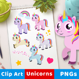 Unicorn Clipart Set, Cute Unicorn Clip Art, Rainbow Unicor